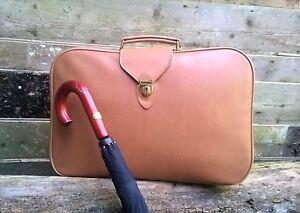 Vintage St Michael soft sided tan faux pig skin zip up suitcase storage prop