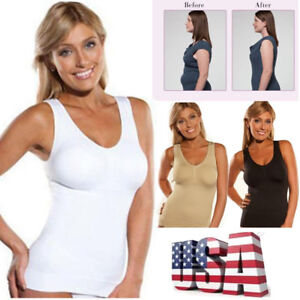 38bee16e5f12ad US Ladies Women Cami Shaper Built In Padded Bra Tank Top Slimming ...