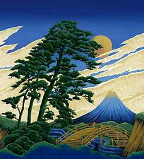 "BEAUTIFUL SCENERY:  ASIAN JAPANESE FABRIC PANEL (22"" X 22"")"