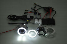 "sto 2.5"" HID Projector Car Headlights Retrofit Shroud H7 H4 Angel Eye 80mm KIT"