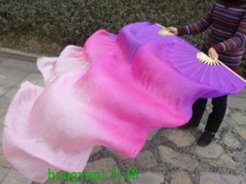 1.5m 1.8m L+R 1 Pair 100/%Real silk belly dance fan veil Purple// Rose red// Pink