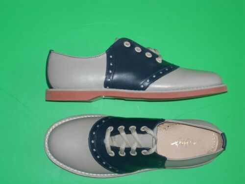 Saddle Shoes History    Muffys Classic NAVY/beige Saddle Oxford Shoes Leather US Wms $89.00 AT vintagedancer.com