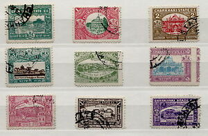 BRITISH-INDIA-1931-CHARKHARI-STATE-FULL-SET-of-9-STAMPS-XF-USED
