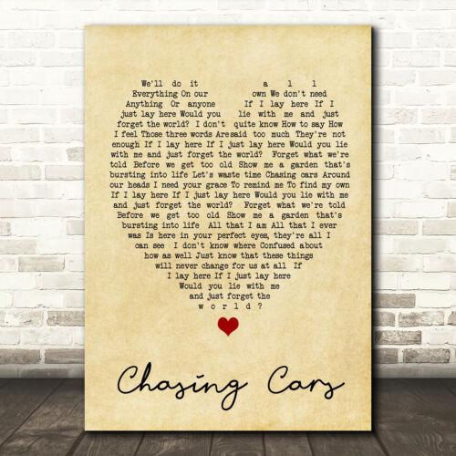 Chasing cars vintage cœur citation chanson LYRIC Imprimer