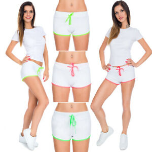 Damen-Fitness-Shorts-mit-Neon-Kordelzug-Sport-Sportbekleidung-Yoga-Hose-FZ143