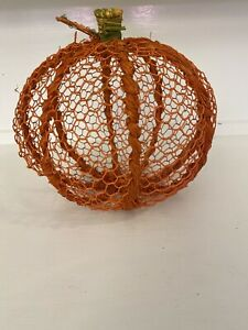 "ORANGE CHICKEN WIRE PUMPKIN DECOR - 9""- Farmhouse Rustic Decor- Fall Harvest."