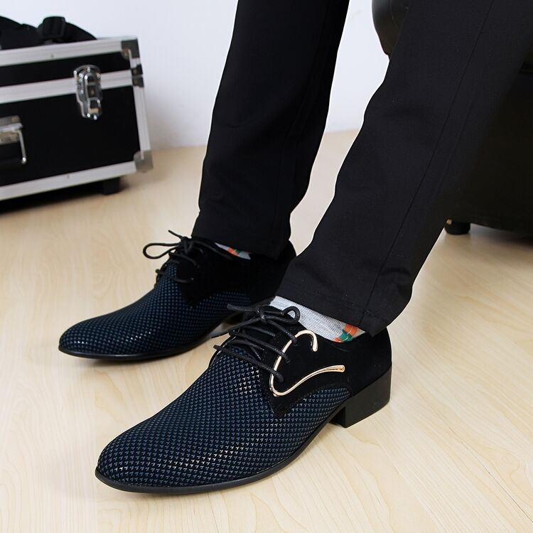 Men's Fashion Trendy Britpop Boys Lace-Ups pointed toe casual dress Formal shoes