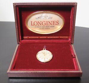 Vintage-1964-Longines-14K-Gold-Slim-Line-35mm-Pocket-Fob-Watch-amp-Original-Box