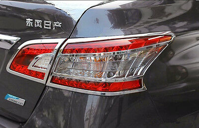Chrome Rear Light Lamp Cover Trim For 4pcs For Nissan Sentra Sylphy 2012--2016