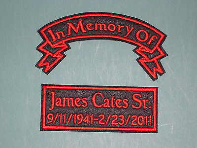 IN MEMORY OF CUSTOM BIKER PATCH PATCHES CHOOSE COLORS FONT *UP TO 5X4 inches