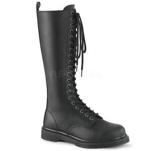 1c5fd8a4f39 Details about DEMONIA Women's Goth Military Punk Combat Lace Up Knee High  Black Boots