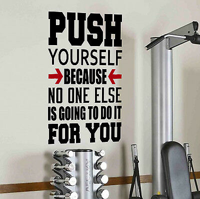 Push Yourself Gym Motivational Wall Decal Quote Fitness Workout Weight Loss Diet