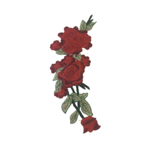 Embroidered Cloth Floral Dress Craft Red Rose Flower Applique Sew on Patch Badge