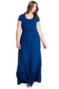 Details about Women\'s Lands\' End Cap Sleeve Knit Scoop Neck Maxi Dress Blue  Plus Size 2X NWT