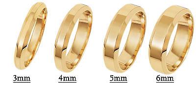 Brand New Hallmarked 9ct Yellow Gold Wedding Ring Flat Court Beveled Edges Eleganter Auftritt