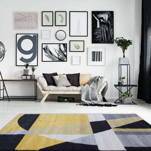 Moderne Ocre Jaune Gris Salle de séjour tapis Easy Living Non Hangar Abstract Zone Tapis