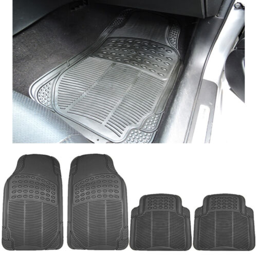 4PC MD Car Bl Front Rubber Mats and Bl Utility Rear Rubber Mats Set