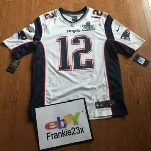 hot sales 3ee76 c0258 Details about New England Patriots Tom Brady Nike Super Bowl 52 LII White  Game Day Jersey MED