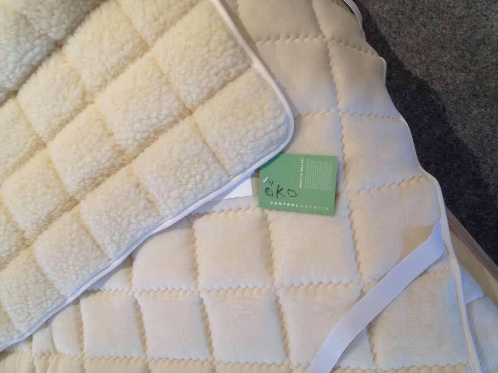 Unterbett Auflage für Matratze in Naturlammflor auf Baumwollgewebe, 90x200cm