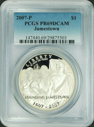 2007-P PCGS PR69DCAM Jamestown $1 Commemorative New PCGS Label