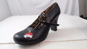 """TUK A6191L BLACK LEATHER 3.5"""" HEELS ROCK ROLL FLAMING HEART BUCKLE STRAP NOS 10"""