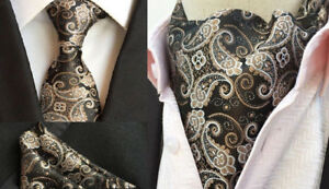2b8a03adacb3 Gold Brown Wedding Paisley Black Silk Bow Tie Floral Ascot Cravat ...