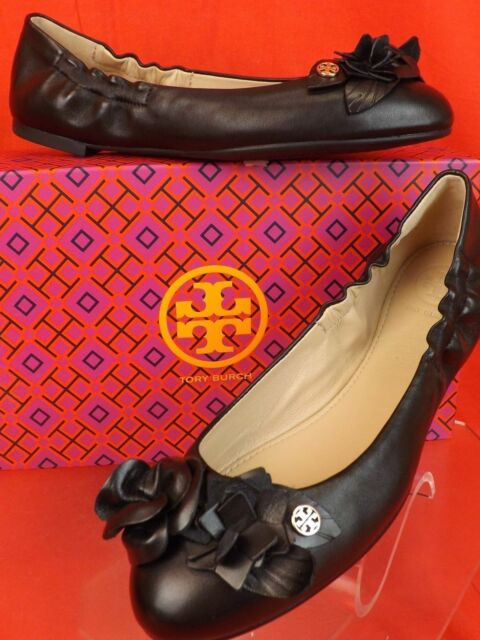 e8b5ae6ed2a5 Tory Burch Claremont Beige Black Quilted Leather Gold Reva Flats 9 ...