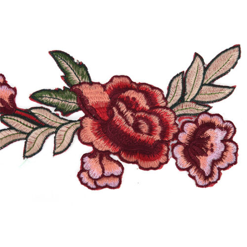 2Pcs Rose Flower Applique Floral Sew Iron On Patches Badge Cool UK