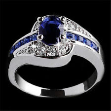 Women Blue Sapphire White Gold Filled Engagement Ring Size 7 Rings Jewelry NEW