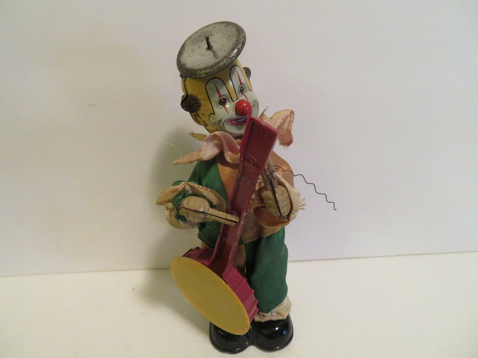 Vintage Tin Wind up Clown Playing guitar -- Japan  cymbal hat 9 inches