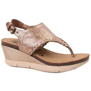 4ed8b2b8cf3 Image is loading Women-OTBT-MEDITATE-Gold-Back-Buckle-Strap-Wedge-