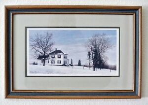 Snow-Landscape-by-David-W-Knowlton-COUNTRY-MANOR-HOUSE-Framed-Print