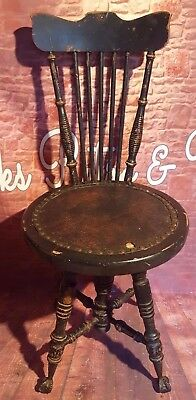 Chairs Antique Georgian Circa 1900 Glass Claw Feet High Back Ebonized Swivel Chair Seat