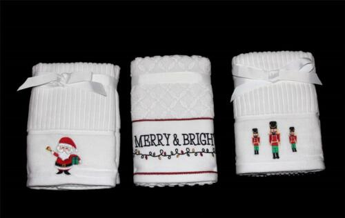 2 Plush Embroidered Santa Nutcracker Lights Christmas Hand Towels NWT You Pick