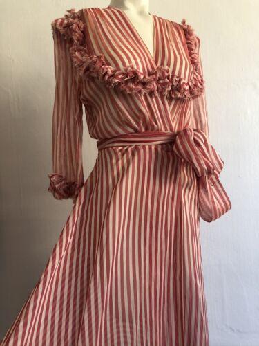 Vintage 1930s Peppermint Stripe Sheer Organza Dres