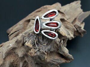Anillo-mujer-Zamak-bano-plata-y-cristal-ROJO-anillos-bisuteria-cristales