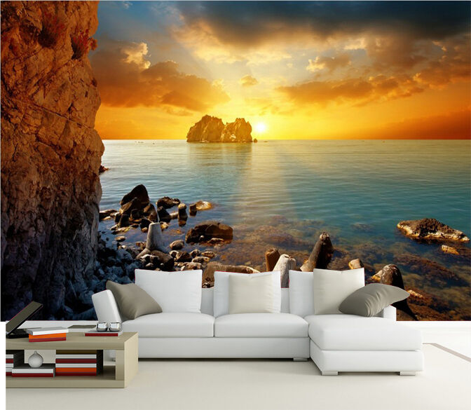 3D Sea Sunset Glow 55 Wall Paper wall Print Decal Wall Deco Wall Indoor Murals