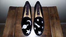 """CUTE! $365 Del Toro Black Velvet """" GLOW SOLAR SYSTEM"""" Slipper Loafer Shoe Stubbs"""
