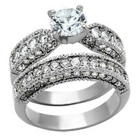 3.15 Ct Round Cut AAA CZ Stainless Steel Wedding Ring Set Women's Size 5-10