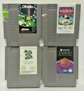 Nintendo-NES-Game-Lot-Tested-Authentic-Taboo-Sixth-Monopoly-Othello-Pipe-Dream