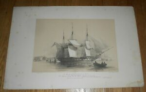 c1840-Antique-Ship-Print-by-Oswald-Walters-Brierly-HMS-Inconstant-Original-Lith