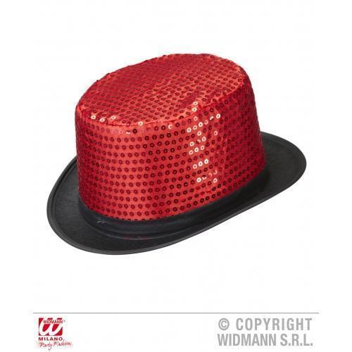 Adult Red Sequin Top Hat Show Girl Burlesque Circus Girl Fancy Dress Cap