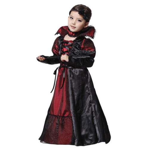 Kids Girls Morticia Vampire Costume Halloween Long Witch Fancy Dress Outfit 5-9Y