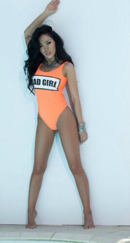 By Alina Badeanzug Einteiler Monokini Swimsuit Body Bad Girl Print Neon XS S