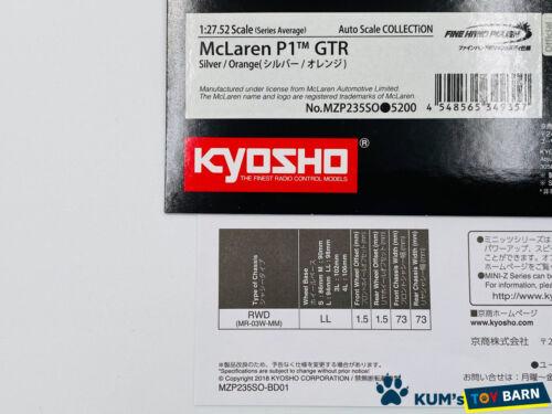 Kyosho MINI-Z Body McLaren P1 GTR Silver//Orange MZP235SO FINE HAND POLISH