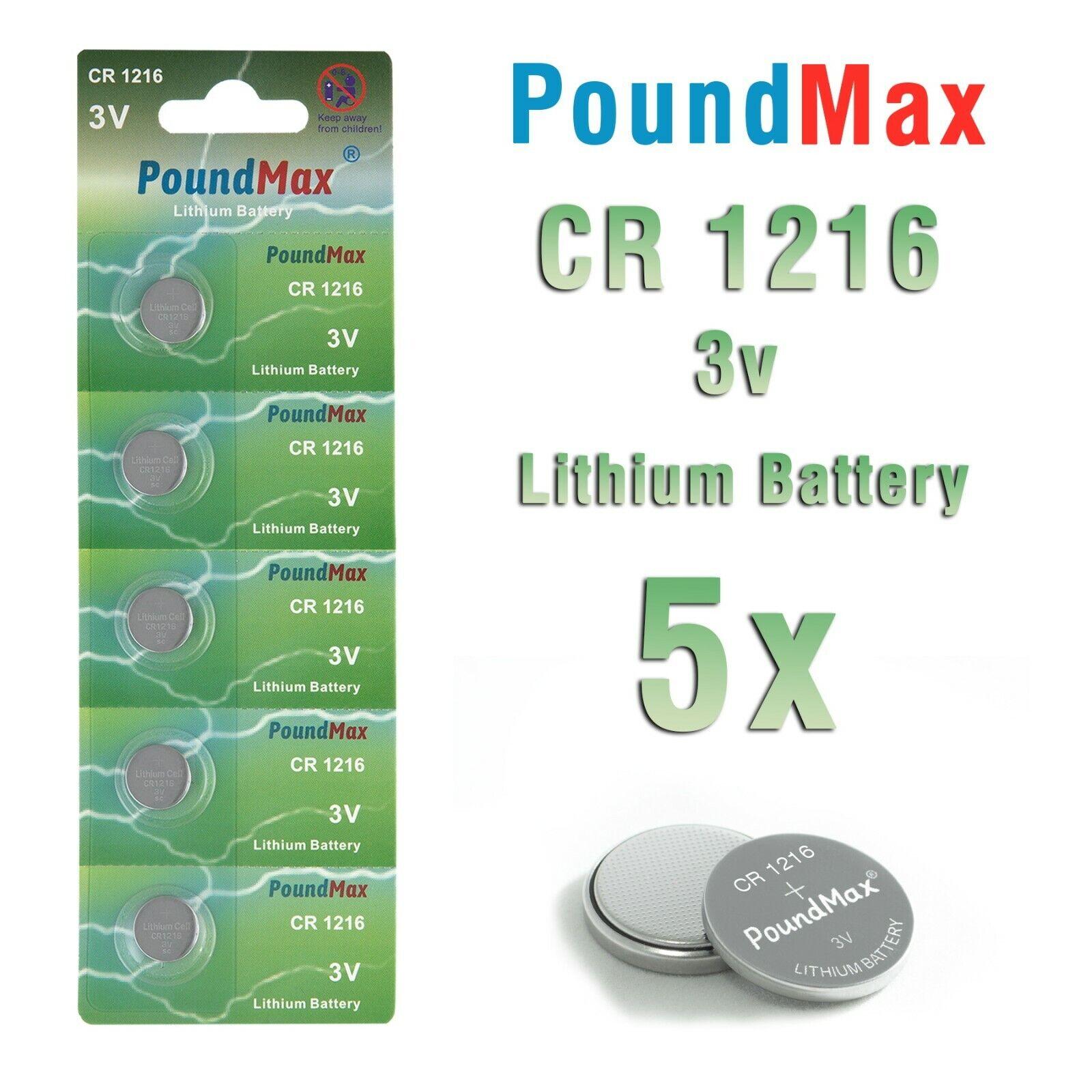 10 X 1216 CR1216 DL1216 KCR1216, BR1216 3V PoundMax Lithium Coin Cell Battery