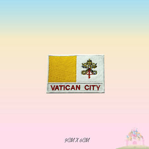 Vatican-City-National-Flag-With-Name-Embroidered-Iron-On-Patch-Sew-On-Badge