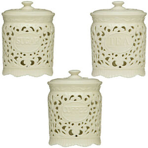 ceramic kitchen canister tea coffee sugar ceramic lace canister jar great for 10938