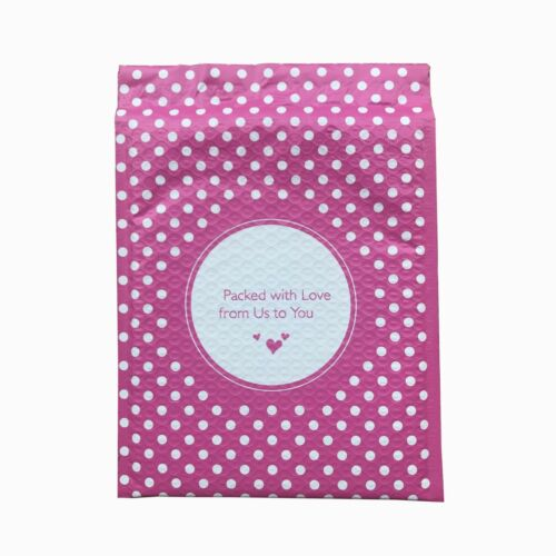 Packed with Love from Us to You Pink Dot Poly Bubble Mailers 100 8.5x11