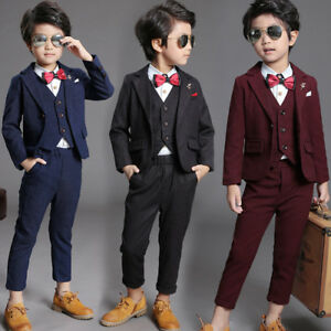 d30dde4e6ed4 3pcs Kid Toddler Boy Formal Suit Coat+Pants+Vest Outfit Set Clothes ...